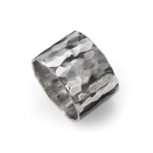 Anello fascia argento ROCK BAND martellato