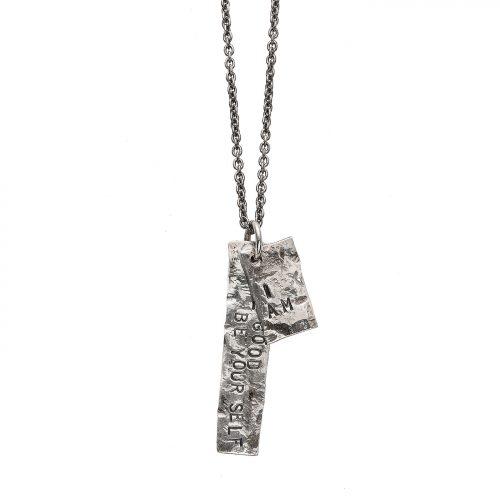 Collana pendente argento martellato