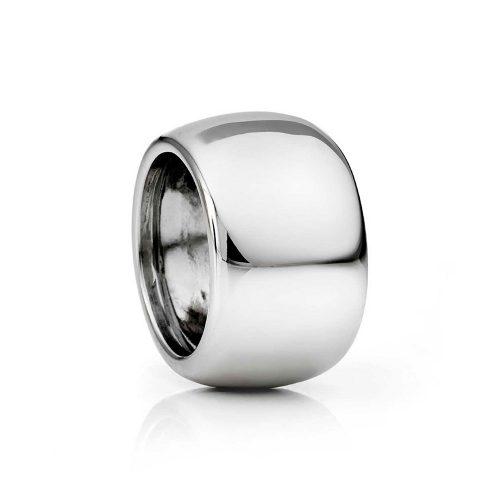 Anello fascia argento bombata lucida rodiata