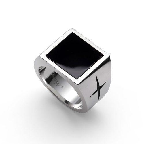 Anello quadrato argento con pietra dura Onice